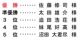 平成28年6月5日(日) 青葉杯 金組