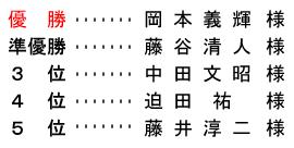 平成 28年10月30日(日) 月例杯 年齢別 A組